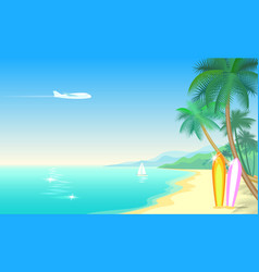 airplane and tropical paradise palm tree vector image
