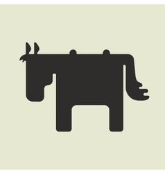 Silhouette of square shape cute horse standing vector