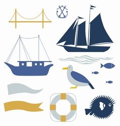 Sea voyage icons set vector