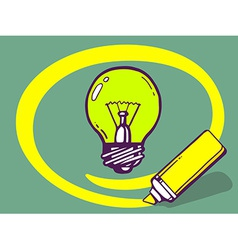 Marker drawing circle around bulb light o vector