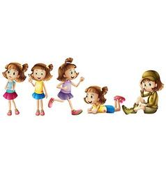 Five adorable kids vector image