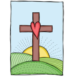 Cross with heart vector