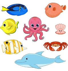 Set of marine animals vector