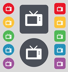 Retro tv mode icon sign a set of 12 colored vector