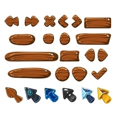 Cartoon wood icons vector