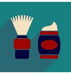 Flat icon with long shadow brush and shaving foam vector