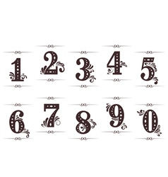 Vintage numbers set vector