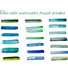 Two-color watercolor brush strokes set vector