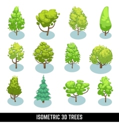 Isometric 3d trees landscape elements set vector