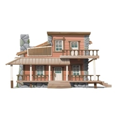 Two-storey wooden cottage with stone facade decor vector