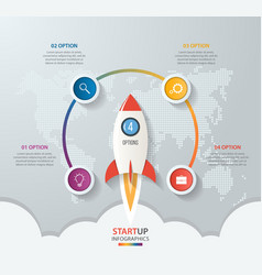 Startup circle infographics with rocket 4 options vector