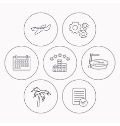 Swimming pool airplane and palm tree icons vector