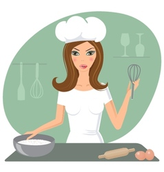 A happy very busy multitasking housewife vector image
