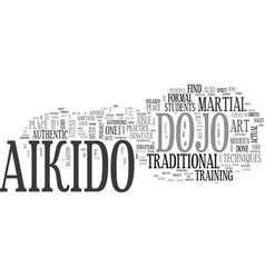 Aikido dojo text word cloud concept vector