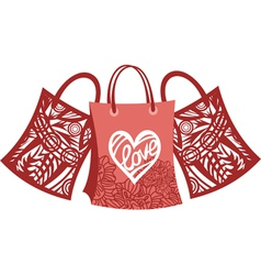 Bags shopping love vector image