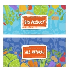 Bio product horizontal flyers set vector image vector image
