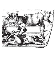 Bulls disrupting dinner vintage vector