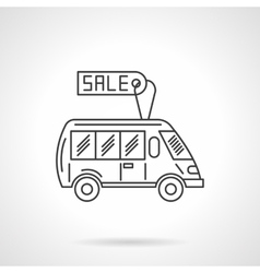 Bus for sale flat line design icon vector image vector image