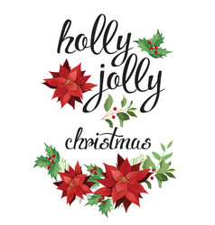 christmas composition red poinsettia and leaves vector image vector image