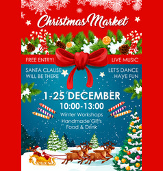 Christmas market poster of winter fair invitation vector