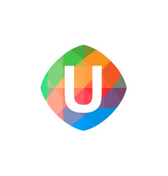 colorful initial u icon vector image vector image