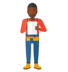 Confident builder with tablet vector
