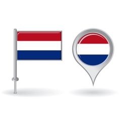 Dutch pin icon and map pointer flag vector
