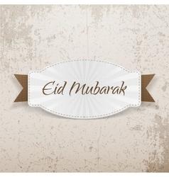 Eid mubarak festive badge with ribbon vector