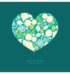 Emerald flowerals heart silhouette pattern vector