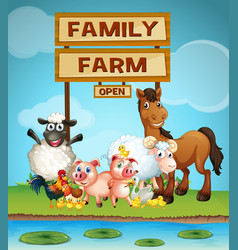 Farm animals by the river vector