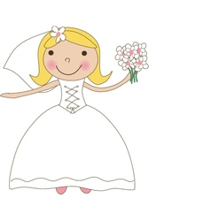 Fiance in the wind Pretty lady in a flying wedding vector image