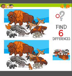 find differences with wild animal characters vector image