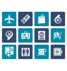 Flat airport travel and transportation icons 1 vector