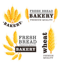 fresh bread isolated logo set vector image