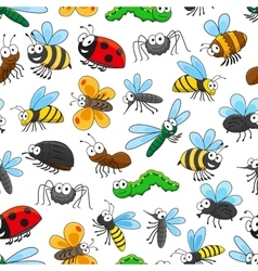 Funny insects cartoon characters seamless pattern vector image