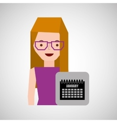 Girl blonde calendar date icon vector