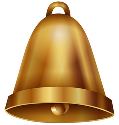 golden bell on white background vector image vector image