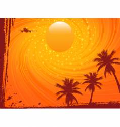 Grunge summer sunset and plane vector