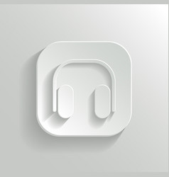 Headphones icon - white app button vector image vector image