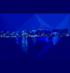 hongkong night harbour color abstract triangles vector image