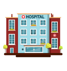 Hospital flat design building isolated on white vector
