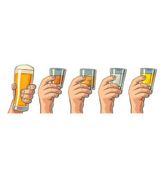 Male hand holding a glasses with beer tequila vector