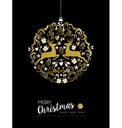 Merry christmas new year gold deer ornament ball vector
