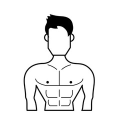 Muscular man torso avatar fitness icon image vector