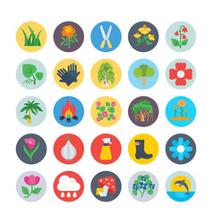 Nature and ecology flat circular icons 4 vector