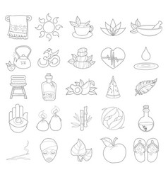 Outline spa icons wellness healthy lifestyle vector