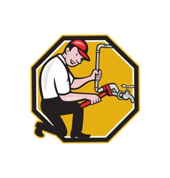 Plumber Repair Faucet Tap Cartoon vector image vector image