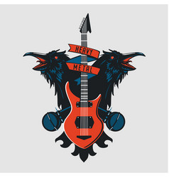 rock music emblem vintage sign with guitar vector image