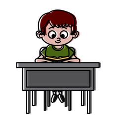 schoolboy on desk vector image