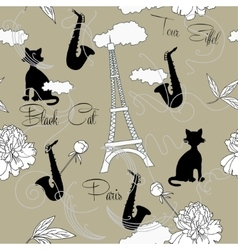 Seamless pattern with Paris flowers and music-05 vector image vector image